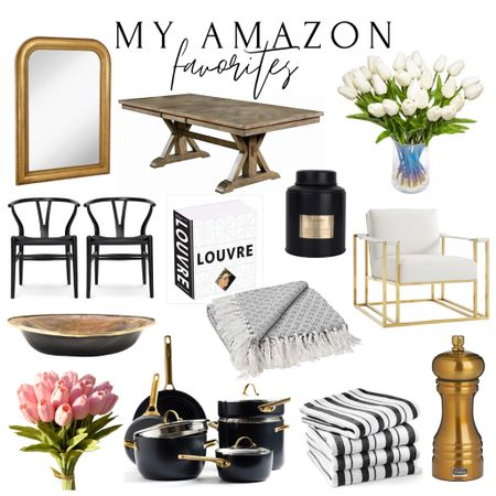 Amazon home, Amazon finds, living room Decor, dining room furniture, dining table, Restoration Hardware, wishbone chairs, black dining chairs, tulips, spring Decor, living room furniture, accent chair, brass decor, Williams-Sonoma towels, green pan, cookware, coffee table book, arched gold mirror, brass mirror, candle, throw, blanket, neutral decor, black decor, black-and-white home,  #LTKstyletip #LTKhome #LTKsalealert