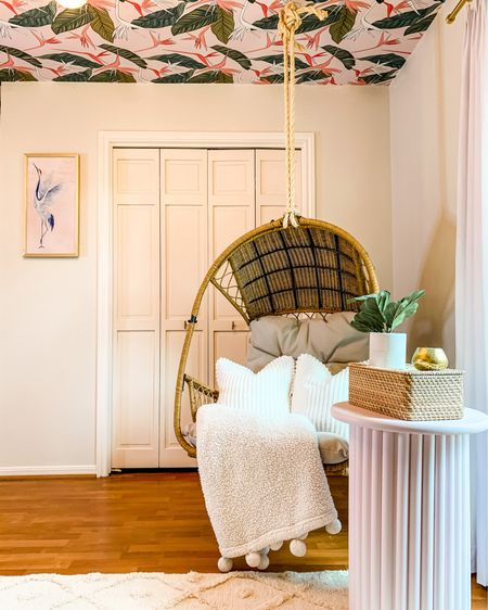 My favorite corner of baby girl's nursery is the hanging chair. We hung it with rope from Lowe's rather than the chain it came with to give us a coastal feel. http://liketk.it/3iBKN #liketkit @liketoknow.it @liketoknow.it.home   #LTKbaby #LTKbump #LTKhome