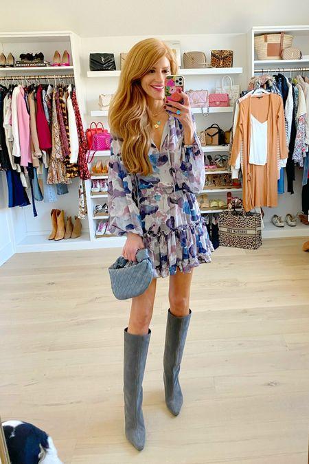 Grey floral mini dress 25% off Wearing xs Love these colors for Fall   #LTKshoecrush #LTKunder100 #LTKSale
