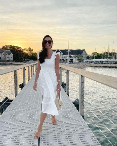 White summer dress - size down because it runs big! http://liketk.it/3gXdi #liketkit @liketoknow.it  #whitedress #summerdress #mididress