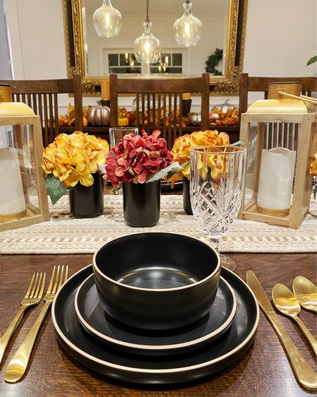 So excited to share our fall tablescape with you guys #ad but mostly excited for these matte black dishes and matte gold flatware from @Walmart.  Will definitely be styling these again for Christmas and beyond. The quality is so good - they're so pretty and dishwasher and microwave safe too. #walmarthome #wowandnow  #LTKhome #LTKHoliday #LTKSeasonal