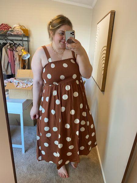 Polka dot midi dress for fall. Wearing large. Fits plus size!!   #LTKcurves #LTKunder50 #LTKunder100