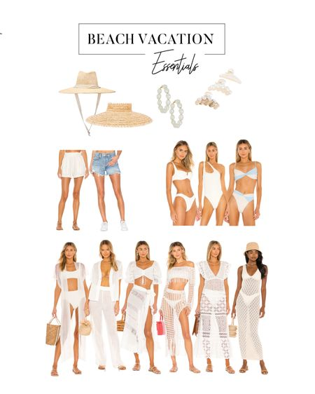 Vacay soon beach essentials, pool Coverups, summer sandals, jean shorts, straw visors and hats, Pearl earrings and hair clips, and white swimsuits!   #LTKsalealert #LTKtravel #LTKstyletip