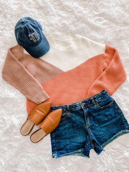 Mama bear hat, color block sweater, jean shorts, mules  #LTKunder50 #LTKSeasonal #LTKstyletip