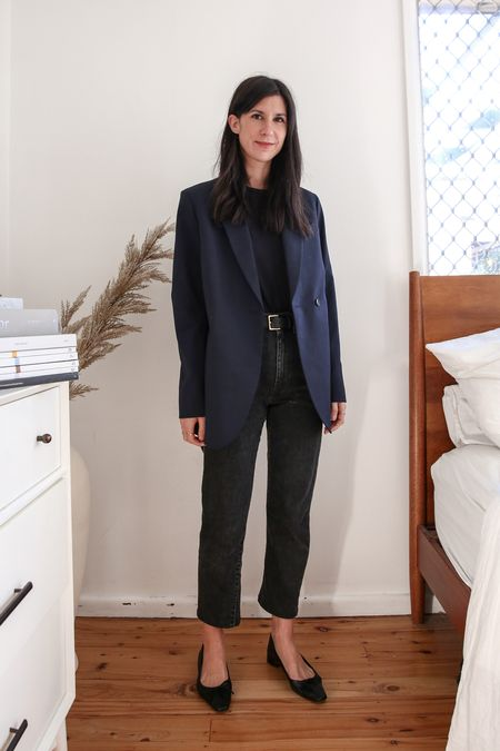 Pairing black with navy - absolutely love this kind of outfit. Especially as the blazer is an oversized fit.   #LTKSeasonal #LTKstyletip
