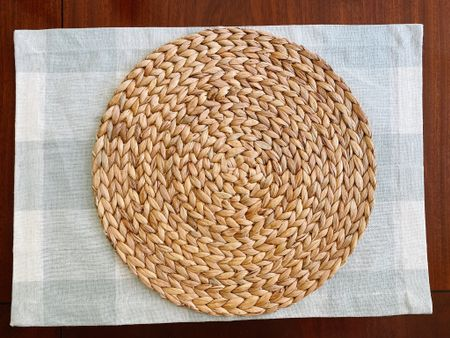 Round rattan placemats + pretty gingham checked placemats from Ballard Designs for a pretty coastal chic fall dining table!   #LTKhome