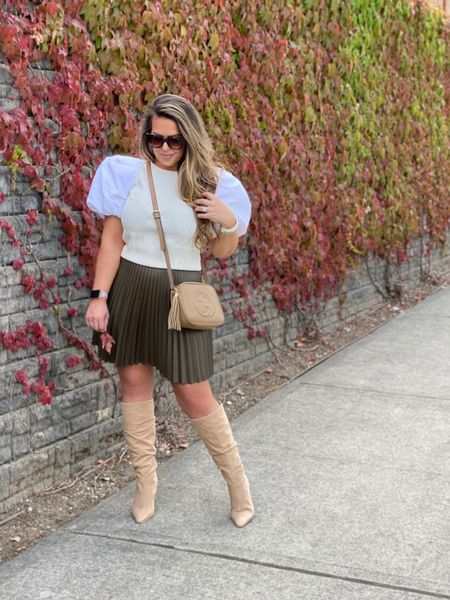 Fall outfits. Puff sleeved top such a statement piece. Would be so cute with jeans as well. Anthropologie.   #LTKshoecrush #LTKSeasonal #LTKunder100