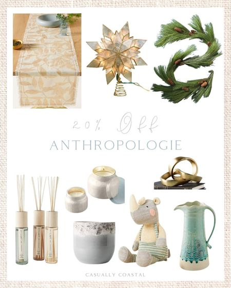 Anthro is having a 20% sale on a select number of items and there are lots of great pieces for the home (including Christmas decor) and holiday gifts. Rounded up some of my favorites from the sale, which is going on through the weekend (sale prices are as marked) - Fall table runner, thanksgiving table runner, neutral table runner, kids gifts, christmas decor, tree topper, pine garland, pinecone garland, winter garland, star tree topper, capiz tree topper, reed diffusers, pots, pitchers, drink pitchers, gold decorative object, gold knot, candles on sale, capri blue candles, stuffed animals, rhino stuffed animal, hostess gifts, teacher gifts, dog walker gifts   #LTKHoliday #LTKhome #LTKsalealert