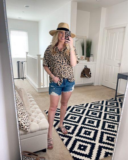 Leopard top and jean shorts on sale http://liketk.it/3hsct #liketkit @liketoknow.it #LTKunder50 #LTKsalealert #LTKstyletip