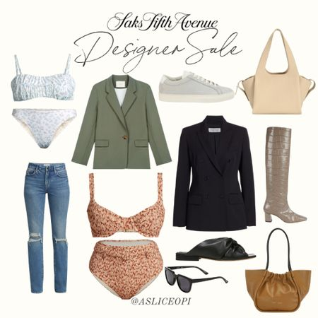📷 Check out my top picks from the Saks Fifth Ave designer sale! Bathing suit, ripped jeans, wool blazer, green blazer, leather tote, knee high boot, leather sandal. http://liketk.it/3l2NZ #liketkit @liketoknow.it