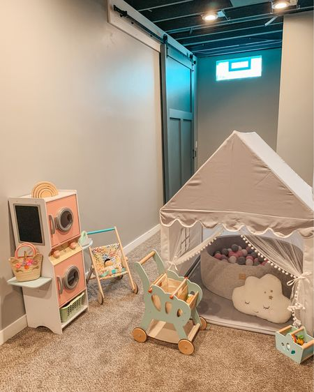 Just a toddler's play corner before complete destruction ⚠️ Can any other mommas relate?    Download the @shop.LTK app to shop this pic via screenshot and get all basement playroom product details. Or shop through the link in my bio #toddlerlife #playroominspo #playroom #playroomdecor #pretendplay #playtent #toddlermom #playroomdesign - - - - - - #amazonfinds #toddleractivities #toddlerroom #toddlertoys #babytoys #homeinspo #basement #letoyvan #modernfarmhouse #ballpit #woodentoys #barndoor #kidkraft #playtolearn #hellotravelblog #decorforkids #woodentoys #farmhousestyle #playtime   #LTKbaby #LTKhome #LTKfamily