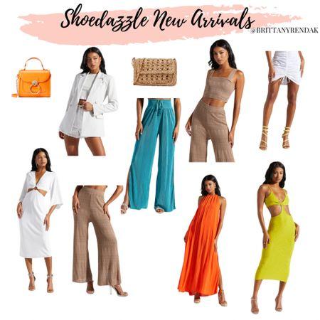 ShoeDazzle new arrivals   Orange purse  Beachwear   Summer outfits  Cutout dress, white blazer, chain maxi    #LTKstyletip #LTKunder100 #LTKtravel