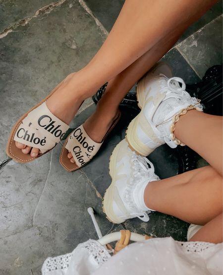 Chloe slides and Veja Sneakers #chloe #veja #sneakers #slides #outfit #seebychloe #shopbop   #LTKeurope #LTKshoecrush #LTKstyletip