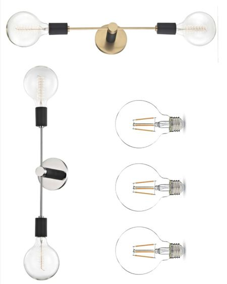 Bathroom sconce lights - hand vertical or horizontal  Bulbs linked too #liketkit @liketoknow.it http://liketk.it/3jIRK #LTKhome @liketoknow.it.home