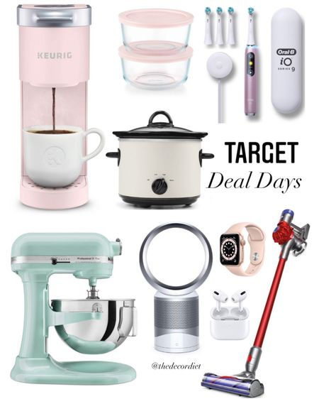 Target deal days 🙌🏻 lots of great deals on mini Keurig coffee maker, Kitchenaid mixer, dyson air purifier, hearth and hand crock pot , cordless dyson vacuum and more!  ✨ SCROLL DOWN TO SHOP PRODUCTS ✨ http://liketk.it/3hZvQ #liketkit @liketoknow.it #LTKsalealert #LTKhome #LTKunder50   pink keurig, Kitchenaid stand mixer, sale alert, target finds, target home, Father's Day gift ideas, gifts for dad, Apple Watch, slow cooker, pink toothbrush home decor , target sale, deals for days, amazon, Walmart