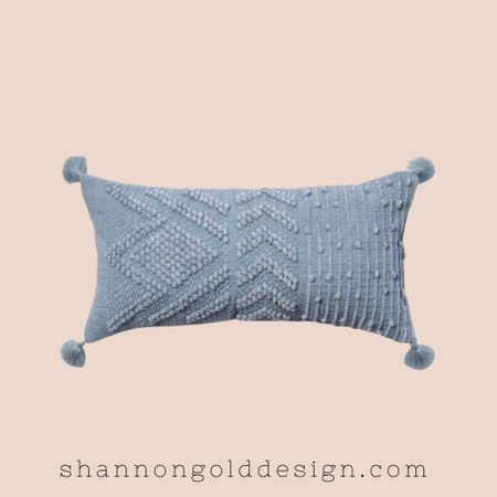 Light blue Oversized Embroidered Textured Lumbar Throw Pillow. Also available in blush, brown and cream!  Designer style pillow for less.  Oversized accent throw pillow with a geometric embroidered pattern with tassels.  #home #homedecor #target #targetstyle    #LTKunder50 #LTKhome #LTKSeasonal