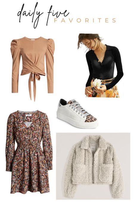 Daily Five Favorites. LTK Sale. Long sleeve tie top. Long sleeve collared top. Fall dress. Cozy Sherpa jacket. Womens sneakers. Golden goose dupes. Women's fall fashion.  #LTKSale #LTKsalealert #LTKunder50