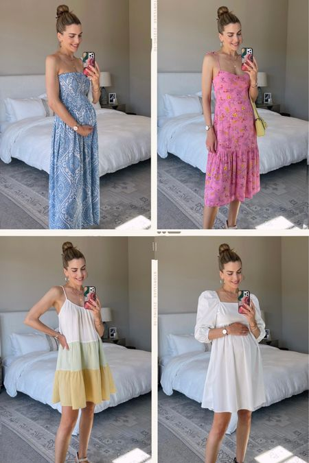 """How cute are these dresses from @walmart?! I'm having so much fun styling my growing bump! I'm currently living in dresses 24/7 because real pants are a thing of the past. I'm so impressed with the quality, prints, and overall silhouettes I found. We're on vacation with our families right now and I packed every single one. Obsessed! For reference, I'm 5'7"""" and wearing size small in all dresses. http://liketk.it/3j285 @liketoknow.it #liketkit   #WalmartFashion #ad"""