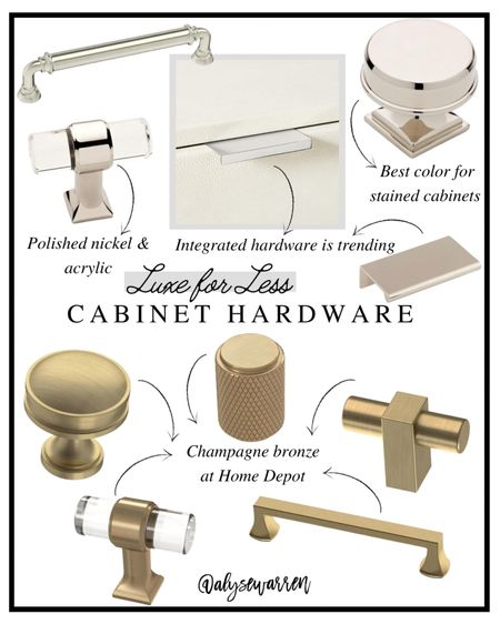 Affordable cabinet hardware in polished nickel (classic) and champagne bronze  Aim for contrast and consider polished nickel for stained cabinets and champagne bronze for white cabinets.  Tap over to Highlights on Instagram Stories @alysewarren to hear more!   Kitchen, bathroom, home decor   #homeinspo #homedesign   #LTKhome