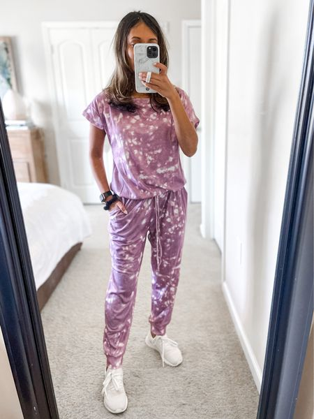 Amazon fashion cozy outfit idea! Pretty purple tie dye jumpsuit paired with adidas cloud foam sneakers! Wearing size small in the ANRABESS Women's Loose Casual Off Shoulder Elastic Waist Stretchy Long Romper Jumpsuit with Pockets!   #LTKstyletip #LTKunder50 #LTKSeasonal