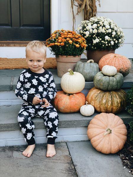 ready for fall! loves his Halloween jammies, anything ghosts 👻 + bats 🦇 #halloweendecor #frontporchdecor #halloween #halloweenpajamas  #LTKunder50 #LTKHoliday #LTKkids