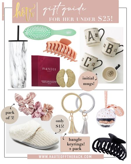 Gift Guide: for her | All gifts under $25!  #giftsforher #giftguide #initialmug #targetfinds #amazonfinds #giftsunder25 #slippers #cozygifts #beautygifts #travelgifts #jawclip #scrunchies #wetbrush  #LTKshoecrush #LTKGiftGuide #LTKbeauty