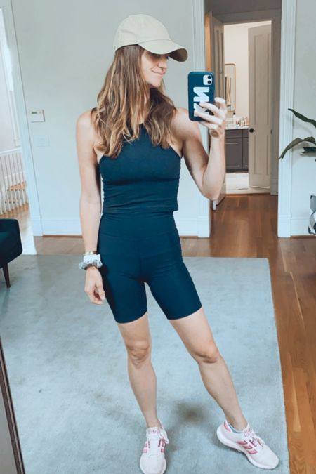 Workout style, fitness instructor, barre, neutral baseball hat, cap, Madewell, bike shorts, finding beauty mom  #LTKunder100 #LTKfit