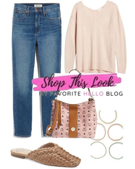 Summer to fall transition outfit. Fall transition outfit from the Nordstrom anniversary sale. Jeans, pink sweater, mules, MCM bag My favorite hello blog. http://liketk.it/3jyp3 @liketoknow.it #liketkit #nsale #nordstrom  #LTKstyletip #LTKsalealert #LTKtravel