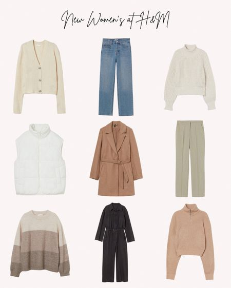 New women's clothing, H&M, jeans, vest, sweaters, cardigan, jacket, coat, pants, slacks, fall, autumn   Follow me for more ideas and sales.   Double tap this post to save it for later    #LTKstyletip #LTKSeasonal #LTKunder50