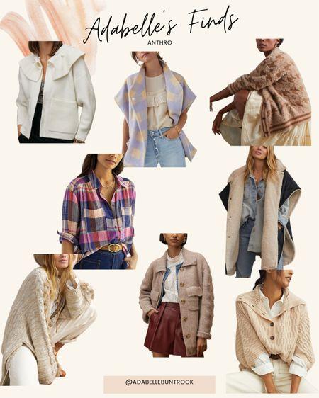 Anthropologie cape sweater fur Sherpa plaid cardigan   #LTKunder100 #LTKSeasonal