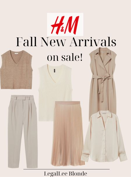 H&M fall finds! All of these are new arrivals but are on sale! - fall sweater - sweater vest - fall skirts - midi skirt - trench dress - fall outfits - fall fashion   #LTKunder100 #LTKworkwear #LTKstyletip