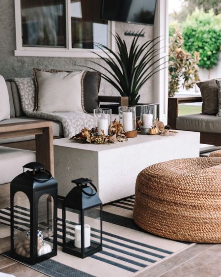 Fall home refresh …updated my covered patio (with indoor decor since it's covered) living room design pillows candles, lanterns and turned my favorite bar cart into the cutest coffee cart ready for bagels and donuts …fall entertaining ideas at Walmart     #LTKHoliday #LTKfamily #LTKhome