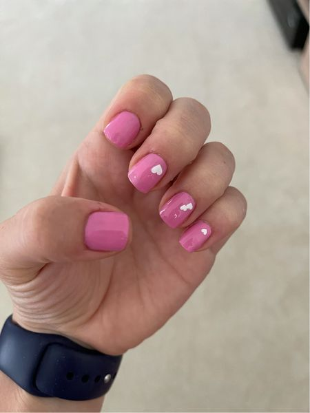 Easy nails with heart nail art for dinner in a classic pink  #LTKbeauty #LTKunder50 #LTKstyletip