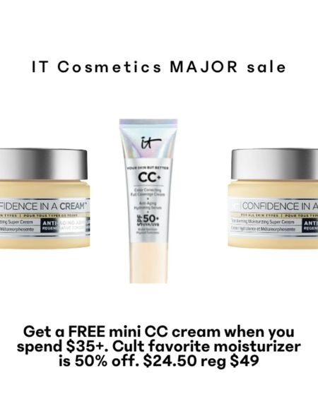 Major IT Cosmetics sale! This cult classic moisturizer is normally $49 and is on sale for 50% off! Get a FREE mini CC cream when you spend $35+. http://liketk.it/3auWN @liketoknow.it #liketkit #LTKbeauty #LTKsalealert #LTKunder50