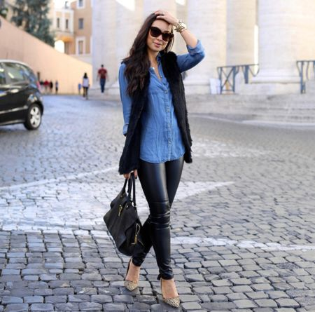 Chambray top with faux fur vest and vegan leather leggings. #fallstyle #vest   #LTKstyletip #LTKSeasonal