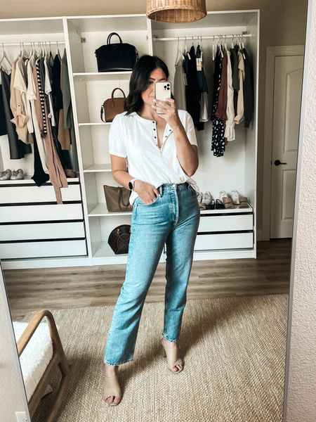 Nordstrom Try on!   I'm in the 29 of the Agolde jeans. They are 100% cotton, no stretch so I always size up. They stretch with wear but not in a whole size kind o a way. Fit is more of a straight leg than a true flare. It's tighter at the hips / waist.   I am in the medium of the tee! TTS fit.