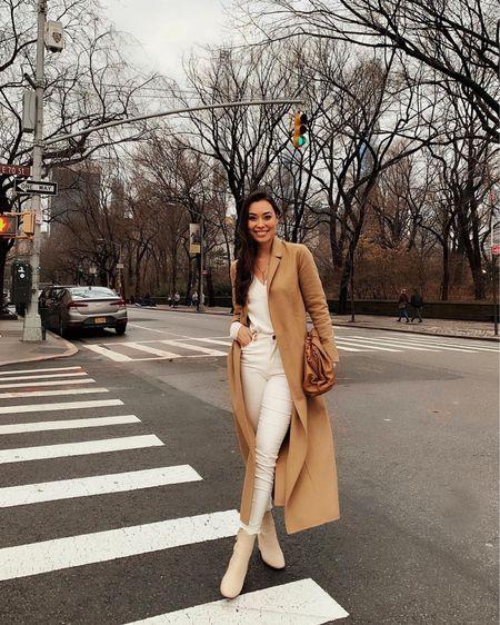 Camel coat with ivory neutral tone outfit.   #LTKshoecrush #LTKSeasonal #LTKstyletip