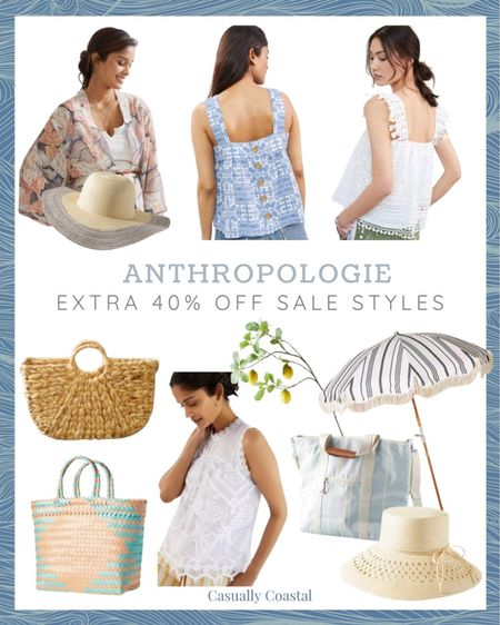 Anthropologie is offering 40% off all sale styles! The deals are good, but items are selling out quickly!  beach style, coastal accessories, summer accessories, preppy style, beach vacation outfits, summer fashion, resort style, resort wear, beach style, beach vacation accessories,straw hat, beach hats, beach hats for women, summer tanks, white lace tank tops, white lace blouses, sleeveless blouses, cooler bags, business & pleasure, beach umbrellas with fringe, striped beach umbrellas, wood beach umbrellas, cooler tote, lemon stems, lemon branches, faux lemon branches, Straw handbag, straw bags, summer bag, straw bag for summer,, anthro sale, kimono, beach kimono  #LTKsalealert #LTKtravel #LTKitbag