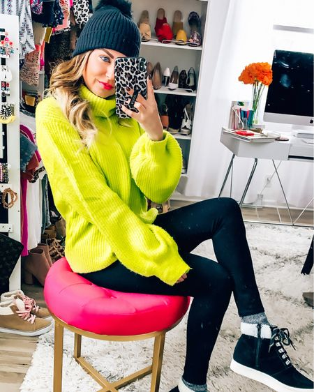 Happy ❄️❄️ Sunday! Currently snug as a bug in a fuzzy blanket, but if I were stepping out I would definitely be cozied up in this chunky sweater & my favorite wedge sneaks! 🖤 This fun neon knit is 20% off with code saraspic20 from @shopamelias - linked in Stories! Click the link in my to shop my shoes, socks, leggings + beanie! - - -  http://liketk.it/2ICAN @liketoknow.it #liketkit #LTKunder100 #LTKunder50 #LTKshoecrush