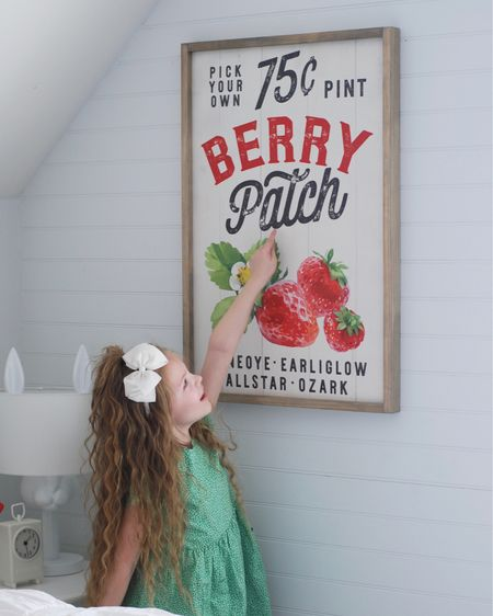 My little girl loves Everything Strawberries...which is fitting since my favorite childhood doll was Strawberry  Shortcake! Did you own one too? When I saw this sign from @tealbarnsigns I knew we had to have it for her Strawberry themed room.  I ordered the 21x31 it's the perfect size! @tealbarnsigns is offering 15% off the entire month of April on ALL her fruit signs. All of them are so darling!  Use code STRAWBERRY15   Strawberry Bedding is from @kipandco & white ruffled bedding is from@beddysbed   shop the rest of my little girls room with a simple screen shot and the @liketoknow.it App   http://liketk.it/2Nles #liketkit @liketoknow.it.home @liketoknow.it.family #LTKfamily #LTKhome #LTKspring