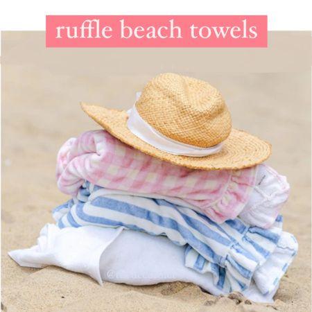 Ruffle beach towels, blue and white beach towels, pink towels, pink beach towels, blue and white towels, beach vacation , travel, pool, beach essentials, umbrella @liketoknow.it #liketkit http://liketk.it/3hV9C #LTKfamily #LTKunder50 #LTKhome