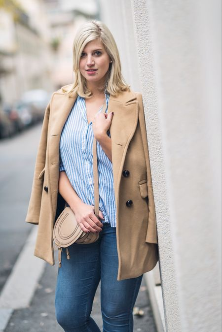 Happy Sunday ✌🏻️ Camel coat and striped blouse - is this a typical office look? Read more about it in today's blog post! 🐫 || @liketoknow.it http://liketk.it/2pEq1 #liketkit