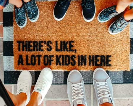 Front porch inspo, funny doormat, front porch, front porch decor, family, big family, toms shoes, welcome mat, Amazon finds http://liketk.it/3bvv0 #liketkit @liketoknow.it #StayHomeWithLTK #LTKfamily #LTKhome