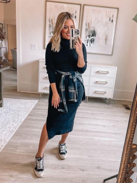 Wearing small in dress (Alexa20 for discount) // wearing xs in flannel // sneakers tts // fall outfit // bump friendly :/   #LTKshoecrush #LTKunder50 #LTKstyletip