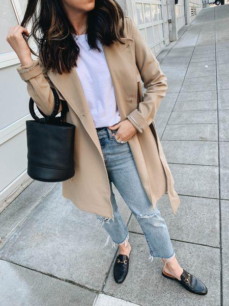 A&F drapey trench- on sale!  Top- Everlane xxs Trench- A&F xs Jeans- Levi's 24 (old) Mules- Gucci 35 Bag- Simon Miller     #LTKitbag #LTKSale #LTKsalealert