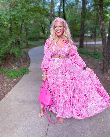 Wedding guest dress Pink floral dress size M  Belt under $30 - use code KIM15 for 15% off  Pink Kate spade purse Pink pearl headband  Gold necklace  Kendra Scott necklace under $50 http://liketk.it/3hKWy #liketkit @liketoknow.it #LTKwedding #LTKstyletip #LTKunder50