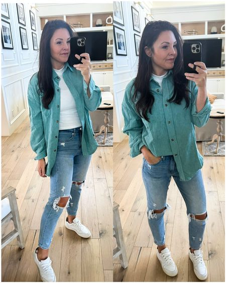 Corduroy shacket comes in tons of colors! Wearing size small & free shipping.  Fav Mom jeans on sale. Size down!  White sneakers  Easy mom outfit   #LTKunder50 #LTKsalealert #LTKGiftGuide