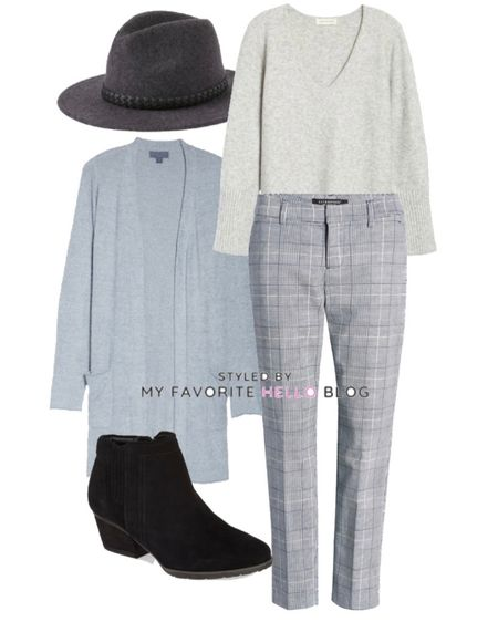 Winter work outfit for the office with plaid pants, blue cardigan, black booties and wool hat  #LTKstyletip #LTKworkwear #LTKSeasonal
