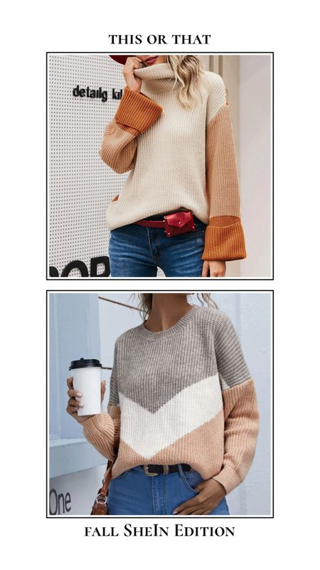 Fall SheIn finds - This or that. Color block or chevron sweater? Find these sweaters and more for under $30 on SheIn! High neck rolled cuff sweater, neutral beige tan chevron sweater. http://liketk.it/3ncY1 @liketoknow.it #liketkit #LTKSeasonal #LTKunder50 #LTKunder100