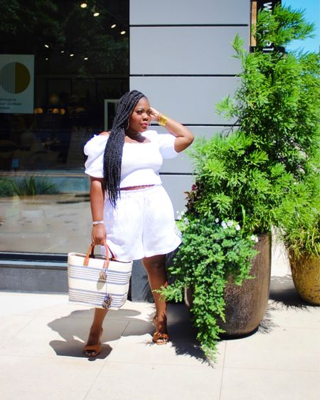 A little white outfit for a Sunny day ! Linen top with smocked top and a basket bag .   #LTKitbag #LTKstyletip